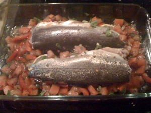 trout over tomato-caper salsa