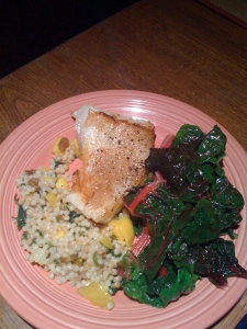 Sea bass with mango cous cous and rainbow chard