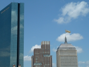 Bruins flag flying proudly on the Hancock building