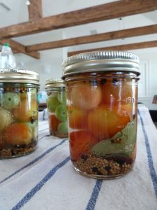 pickled green cherry tomatoes