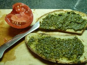tomato and pesto on toasted sourdough