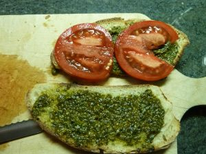 tomato and basil sandwich
