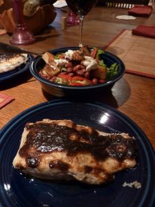 Broiled bluefish with smoky mayo and a salad