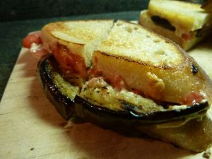 Grilled eggplant paninni with tomato and smoky mayo