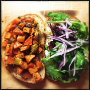 Sweet potato sammie, deconstructed