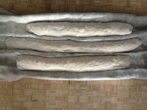 set formed loaves into stiff canvas to help them keep their shape while the rise another 30 minutes.
