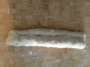 fold length of dough down about a third and press the seam to seal - and repeat.