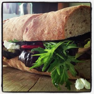 roasted eggplant and red pepper on whole wheat baguette
