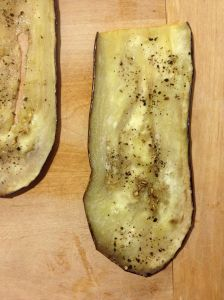 Eggplant, thinly sliced and baked.
