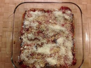 Spoon sauce over top and sprinkle with Parmesan cheese