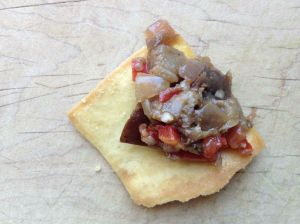 Spicy Eggplant Relish on a Stacy's Pita Chip