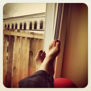 propped up feet